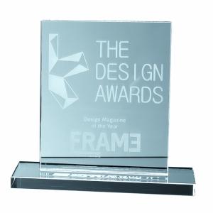 An image of Jade Glass Rectangle Award 15cm X 12.5cm X12mm