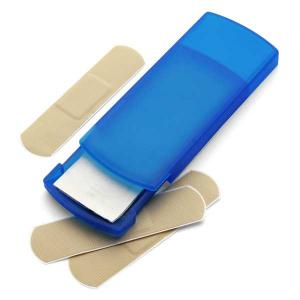 An image of Imprint Plastic pocket case with five plasters.