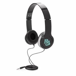 An image of black Branded Foldaway Headphone