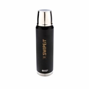 An image of black Branded  1L Swiss Peak Elite Copper Vacuum Flask