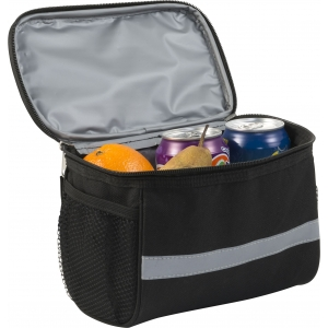An image of Black Promotional Polyester (600D) bicycle cooler bag with PEVA