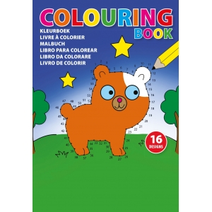 An image of A5 Children's Colouring Book With Sixteen Designs On Eight Pages.
