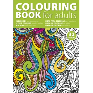 An image of A4 Adult's Colouring Book With Thirty-two Designs On Sixteen Pages.