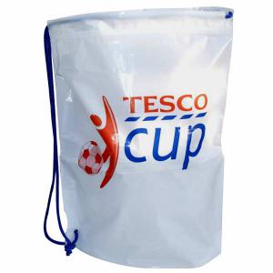 An image of Clear Custom Printed Duffle Style Polythene Carrier Bag