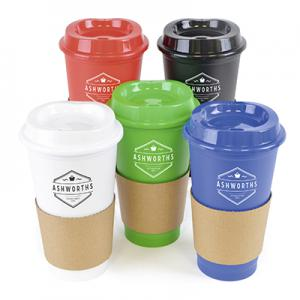 An image of Blue Branded 500ml Take Out Coffee Mug