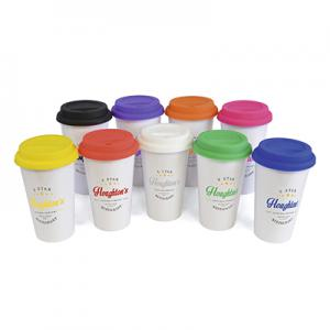 An image of white/blue Marketing 375ml Plastic Take Out Mug