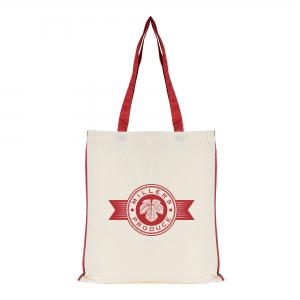 An image of Red Printed 7oz Cotton Shopper With Coloured Piping