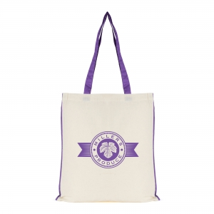 An image of Purple Printed 7oz Cotton Shopper With Coloured Piping